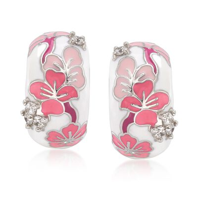 "Belle Etoile ""Constellations: Sakura"" Pink Enamel and .24 ct. t.w. CZ Half-Hoop Earrings in Sterling Silver"