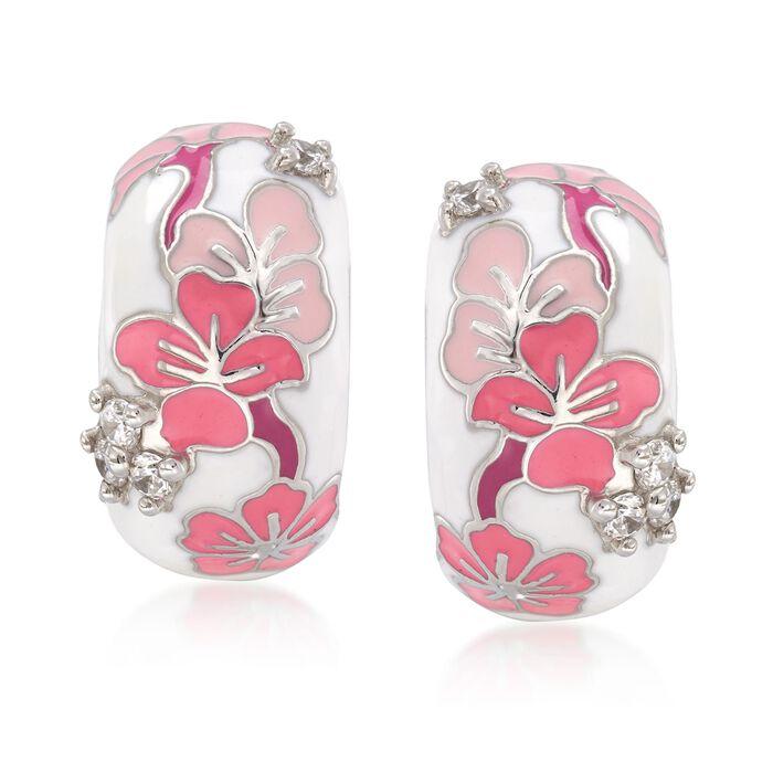 "Belle Etoile ""Constellations: Sakura"" Pink Enamel and .24 ct. t.w. CZ Earrings in Sterling Silver. 5/8"""