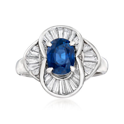 C. 1980 Vintage 2.06 Carat Sapphire and .83 ct. t.w. Diamond Ring in Platinum