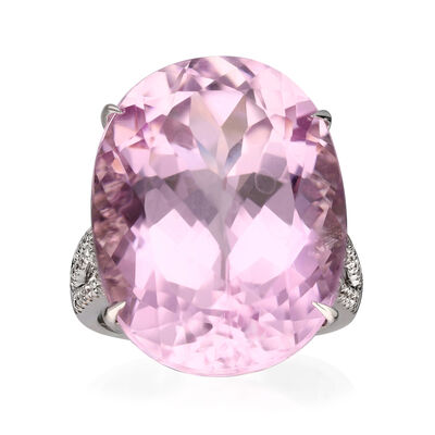 35.00 Carat Pink Kunzite Ring with .38 ct. t.w. Diamonds in 14kt White Gold