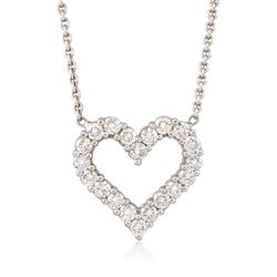 C. 1990 Vintage 1.40 ct. t.w. Diamond Open-Space Heart Necklace in 14kt White Gold, , default