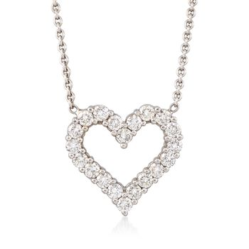 "C. 1990 Vintage 1.40 ct. t.w. Diamond Open-Space Heart Necklace in 14kt White Gold. 15.25"", , default"