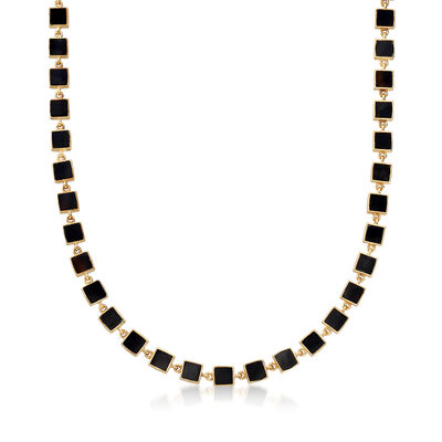 Black Onyx Station Necklace in 18kt Yellow Gold Over Sterling Silver, , default