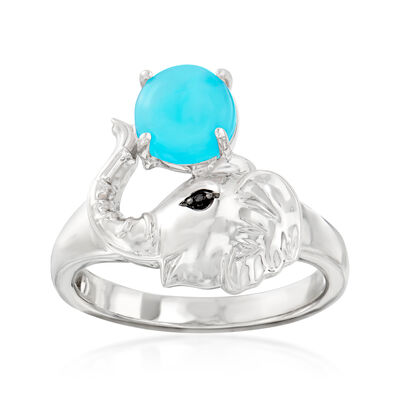Turquoise Elephant Ring in Sterling Silver
