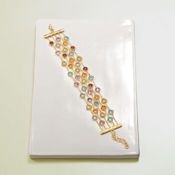 "23.70 ct. t.w. Multi-Stone Beaded Multi-Row Bracelet in 18kt Gold Over Sterling. 7"", , default"