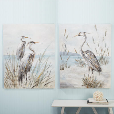 Set of 2 Shore Bird Canvas Paintings, , default