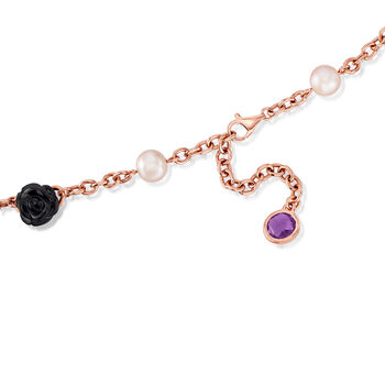 """C. 2000 Vintage Mimi Milano 8-8.5mm Cultured Pearl, 6.25 ct. t.w. Amethyst and Black Agate Flower Necklace in 18kt Rose Gold. 18"""", , default"""