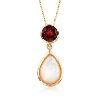 "Mother-Of-Pearl and 2.20 Carat Garnet Pendant Necklace in 18kt Yellow Gold Over Sterling Silver. 18"", , default"