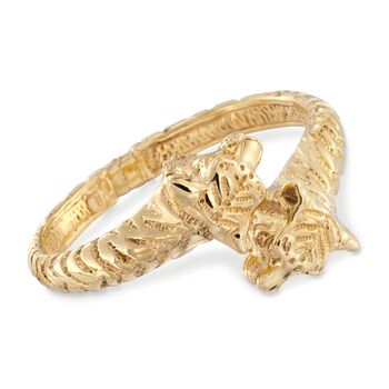 "Italian 14kt Yellow Gold Tiger Bypass Bangle Bracelet. 7"", , default"