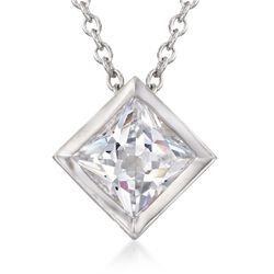 "1.25 Carat Princess-Cut CZ Solitaire Necklace in Sterling Silver. 16"", , default"