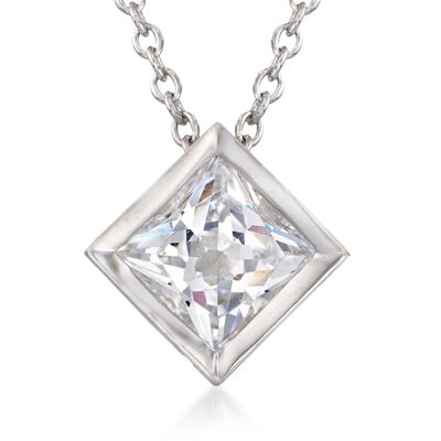 1.25 Carat Princess-Cut CZ Solitaire Necklace in Sterling Silver, , default