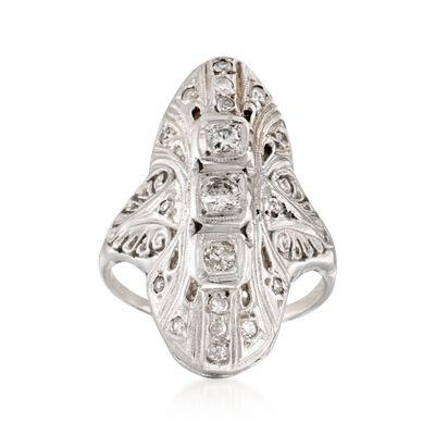 C. 1950 Vintage .45 ct. t.w. Engraved Diamond Dinner Ring in 14kt White Gold , , default