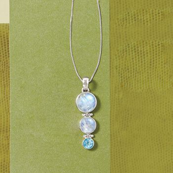 """Moonstone and 2.50 Carat Blue Topaz Pendant in Sterling Silver. 18"""", , default"""