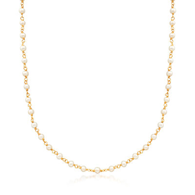 Italian 3mm Cultured Pearl Stationed Rosary-Style Necklace in 14kt Yellow Gold, , default