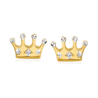 14kt Yellow Gold Crown Stud Earrings