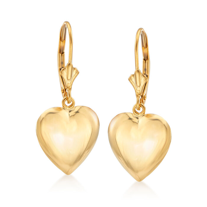 14kt Yellow Gold Puffed Heart Drop Earrings , , default
