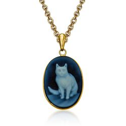 "Blue Agate Cat Cameo Pendant Necklace in 14kt Yellow Gold. 18"", , default"