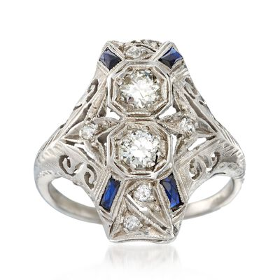 C. 1920 Vintage .50 ct. t.w. Diamond and .20 ct. t.w. Synthetic Sapphire Dinner Ring in Platinum, , default