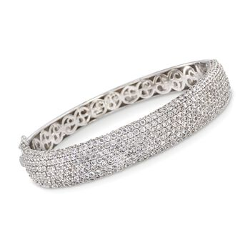 "1.75 ct. t.w. CZ Wide Bangle Bracelet in Sterling Silver. 7"", , default"