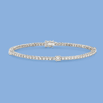 2.30 ct. t.w. CZ Tennis Bracelet in Sterling Silver