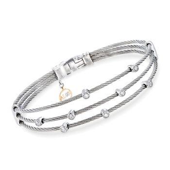 """ALOR """"Classique"""" .18 ct. t.w. Diamond Gray Multi-Row Cable Bracelet With 18kt White Gold. 7"""", , default"""