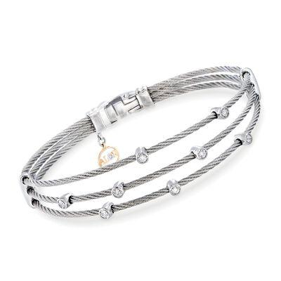 """ALOR """"Classique"""" .18 ct. t.w. Diamond Gray Multi-Row Cable Bracelet with 18kt White Gold, , default"""