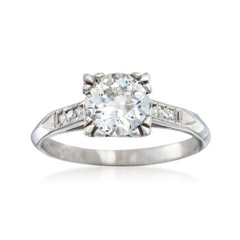 C. 1950 Vintage .93 ct. t.w. Diamond Ring in Platinum. Size 4.75, , default