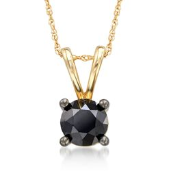"1.00 Carat Black Diamond Pendant Necklace in 14kt Yellow Gold. 18"", , default"