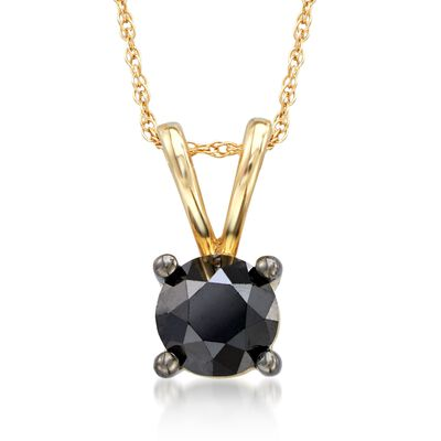 1.00 Carat Black Diamond Pendant Necklace in 14kt Yellow Gold, , default