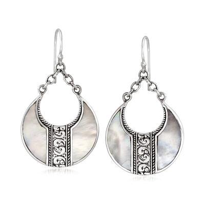 Mother-Of-Pearl Bali-Style Teardrop Earrings in Sterling Silver