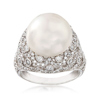 13-13.5mm Cultured Pearl and 1.10 ct. t.w.   White Topaz Ring in Sterling Silver, , default