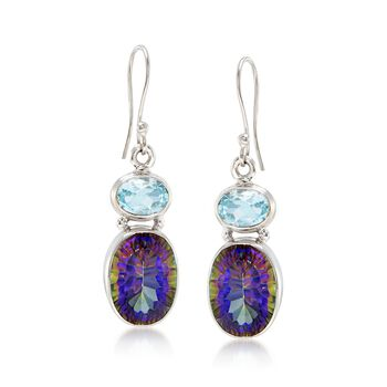 3.00 ct. t.w. Blue Topaz and 12.00 ct. t.w. Multicolored Quartz Drop Earrings in Sterling Silver, , default
