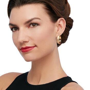 "Italian 14kt Yellow Gold Brushed and Diamond-Cut Hoop Earrings. 1 1/8"", , default"