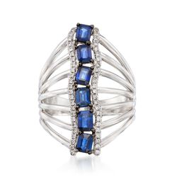 1.60 ct. t.w. Sapphire and .25 ct. t.w. Diamond Vertical Statement Ring in 14kt White Gold, , default