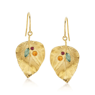 1.40 ct. t.w. Multi-Stone Leaf Drop Earrings in 18kt Yellow Gold Over Sterling, , default