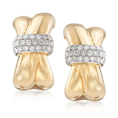 .56 ct. t.w. Diamond Crisscross Drop Earrings in 14kt Yellow Gold