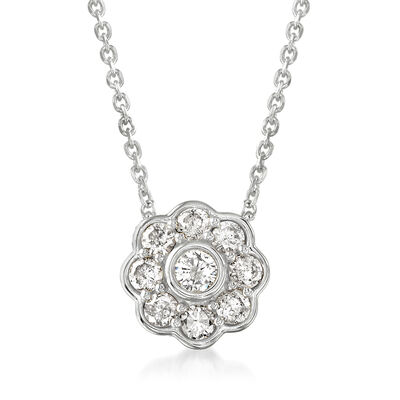 .50 ct. t.w. Diamond Flower Necklace in Sterling Silver