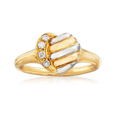 C. 1990 Vintage Dior 18kt Two-Tone Gold Heart Ring with Diamond Accents, , default