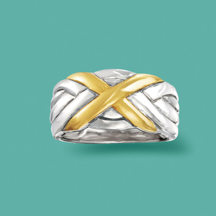 Sterling Silver and 18kt Gold Over Sterling X Ring
