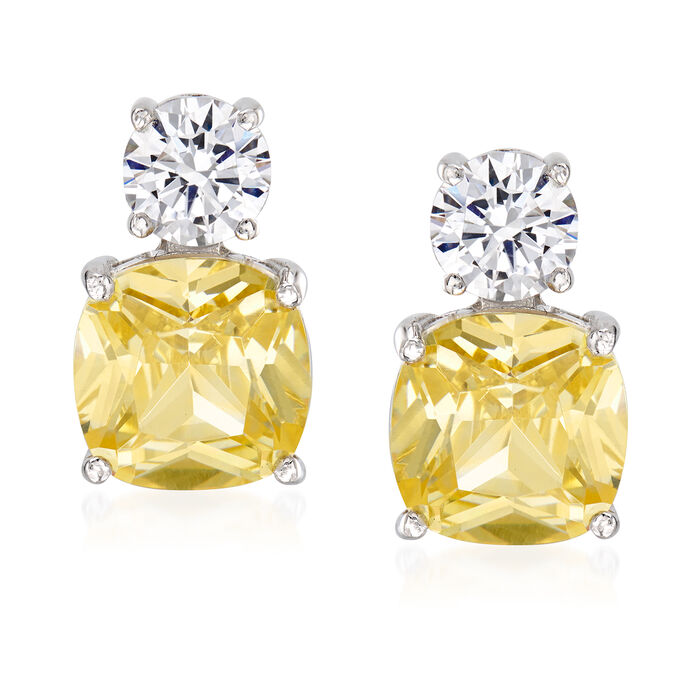 16.50 ct. t.w. Yellow and White CZ Earrings in Sterling Silver, , default