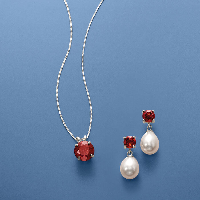 7-7.5mm Cultured Pearl and 2.70 ct. t.w. Garnet Jewelry Set: Earrings and Necklace in Sterling Silver