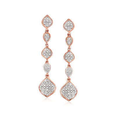 .25 ct. t.w. Diamond Multi-Shape Cluster Drop Earrings in 14kt Rose Gold