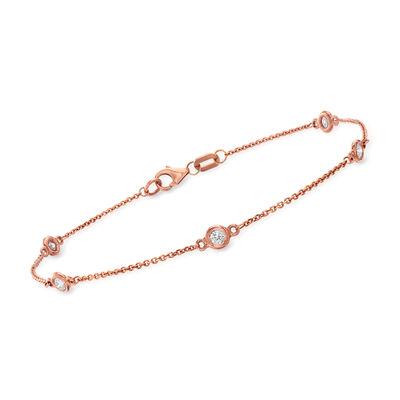 C. 1990 Vintage .30 ct. t.w. Diamond Station Bracelet in 14kt Rose Gold