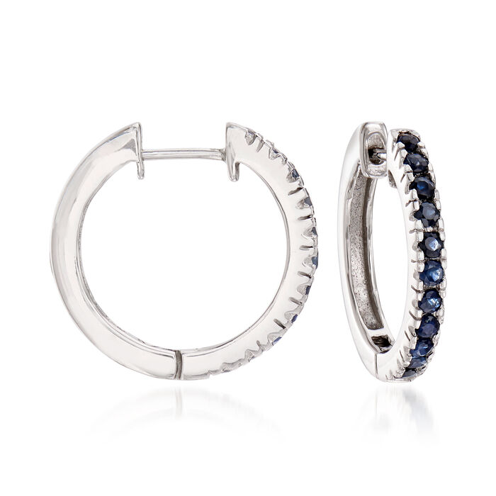 1.10 ct. t.w. Sapphire Hoop Earrings in Sterling Silver. 3/4""
