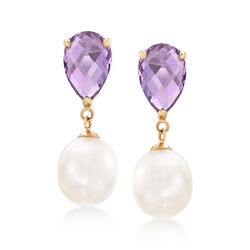 """5.50 ct. t.w. Amethyst and 10-11mm Cultured Pearl Drop Earrings With 14kt Yellow Gold. 1 1/8"""", , default"""