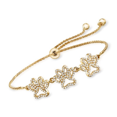.50 ct. t.w. Diamond Paw Print Bolo Bracelet in 18kt Gold Over Sterling