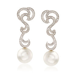 Mikimoto 10-10.5mm South Sea Pearl and .60 ct. t.w. Diamond Swirl Drop Earrings in 18kt White Gold, , default