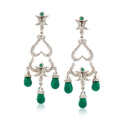 C. 1990 Vintage Green Chalcedony and 1.00 ct. t.w. Diamond Chandelier Drop Earrings With Emeralds in 14kt White Gold, , default