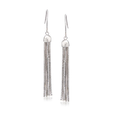 Fringe Tassel Drop Earrings in Sterling Silver, , default