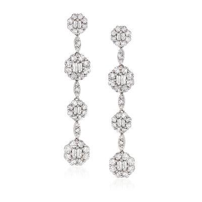 3.67 ct. t.w. Diamond Drop Earrings in 18kt White Gold, , default